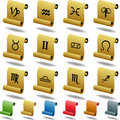 Zodiac Horoscope Icons - Scroll Stock Photo