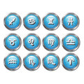 Zodiac horoscope set of twelve icon buttons Stock Photos