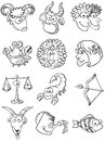 Zodiac set of doodle cute symbols Stock Photos