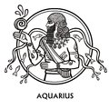 Zodiac sign Aquarius. Vector art. Black and white zodiac drawing isolated on white. Royalty Free Stock Photo
