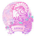 Zodiac sign of Aries. with a decorative frame roses Astrology concept art. Tattoo design Royalty Free Stock Photo