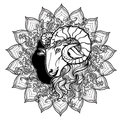 Zodiac sign of Aries with a decorative frame of sun flares and sunflower petals. Astrology concept art. Tattoo design Royalty Free Stock Photo