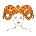 Zodiac sign of aries stylized with beautiful girl portrait Royalty Free Stock Images