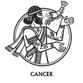 Zodiac sign Cancer. Vector art. Black and white zodiac drawing isolated on white. Royalty Free Stock Photo