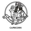 Zodiac sign Capricorn. Vector art. Black and white zodiac drawing isolated on white. Motives of Sumerian art. Royalty Free Stock Photo