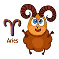 Zodiac sign cartoon Aries, astrological character. Painted funny aries with a symbol isolated on white background, vector drawing Royalty Free Stock Photo