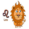 Zodiac sign cartoon Leo, astrological character. Painted funny leo with a symbol isolated on white background, vector drawing Royalty Free Stock Photo