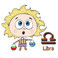 Zodiac sign cartoon Libra, astrological character. Painted funny libra with a symbol isolated on white background, vector drawing Royalty Free Stock Photo