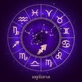 Zodiac sign and constellation SAGITTARIUS with Horoscope circle and sacred symbols on the starry night sky background with geometr Royalty Free Stock Photo