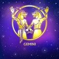 Zodiac sign Gemini. Character of Sumerian mythology. Gold imitation.