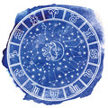 Zodiac sign in  Horoscope circle.Blue watercolor Royalty Free Stock Photo