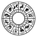 Zodiac sign horoscope icons representing the twelve signs of the for horoscopes arranged round in a circle Royalty Free Stock Photography