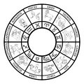 Zodiac sign horoscope icons representing the twelve signs of the for horoscopes arranged round in a circle Stock Photography