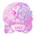 Zodiac sign of Leo with a decorative frame  roses. Royalty Free Stock Photo