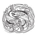 Zodiac Sign - Pisces. Two Fish...