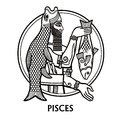 Zodiac sign Pisces. Vector art. Black and white zodiac drawing isolated on white. Royalty Free Stock Photo