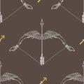 Zodiac sign Sagittarius. Horoscope vintage seamless pattern. Royalty Free Stock Photo
