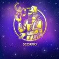 Zodiac sign Scorpio. Character of Sumerian mythology. Gold imitation.