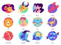 Zodiac sign set. Collection of astrology symbol. Aquarius