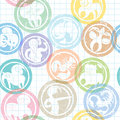 Zodiac sign stamps pattern Stock Photo