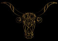 Zodiac sign Taurus. Bull. The bull`s head is painted with gold threads, lines and pattern. Vector illustration, Isolated on black. Royalty Free Stock Photo