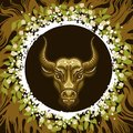 Zodiac Sign of Taurus in Earth Circle Royalty Free Stock Photo