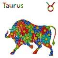Zodiac sign Taurus with stylized flowers Royalty Free Stock Photo