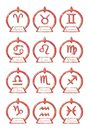 Set of Zodiac signs symbols in an elegant version Royalty Free Stock Photo