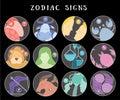 Zodiac signs: aquarius, libra, leo, taurus, cancer, pisces, virgo, capricorn, sagittarius, aries, gemini, scorpio. Astrological Royalty Free Stock Photo