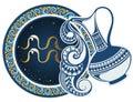 Zodiac signs - Aquarius Royalty Free Stock Photo