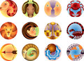 Zodiac signs circled set Stock Photos