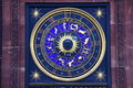 Zodiac signs on clock Royalty Free Stock Photo