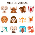 Zodiac signs colorful silhouettes horoscope astrology set vector illustration. Royalty Free Stock Photo