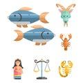 Zodiac signs flat set of horoscope symbols star collection astrology ascendant figure nativity vector astrological