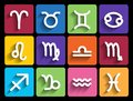 Zodiac signs in flat style set of colorful square icons Royalty Free Stock Image