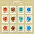Zodiac signs icons for horoscopes, predictions, postage stamps Royalty Free Stock Photo