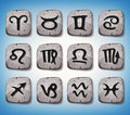 Zodiac Signs And Icons Set On Rocks Royalty Free Stock Photo