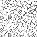 Zodiac signs seamless pattern. Hand drawn astrology symbols. Horoscope icons vector illustration Royalty Free Stock Photo