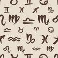 Zodiac signs seamless pattern Royalty Free Stock Photo