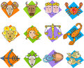 Zodiac signs set of twelve colorful eps Royalty Free Stock Image