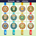 Zodiac signs theme. Set of mandalas with libra zodiac signs. Zentangle inspired mandalas. Royalty Free Stock Photo