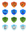Zodiac signs vector set of symbols of horoscope on badges of four elements eps Royalty Free Stock Image