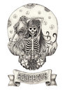 Zodiac Skull Aquarius.Hand drawing on paper. Royalty Free Stock Photo