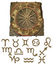 Zodiac Stone Tablet with Symbols Royalty Free Stock Photo