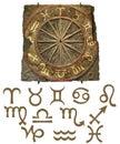 Zodiac Stone Tablet with Symbols Royalty Free Stock Photo