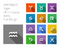 Zodiac symbol icons on color background flat design style Royalty Free Stock Images