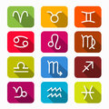 Zodiac Symbols on Rounded Squares Royalty Free Stock Photo