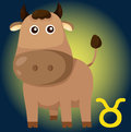 Zodiac taurus sign illustration of cartoon Stock Photography