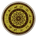 Zodiac wheel horoscope Stock Photo