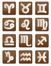 Zodiac wood icon Stock Images